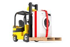 Forklift το φορτηγό κινεί το σύγχρονο πλυντήριο με την κορδέλλα και το τόξο διανυσματική απεικόνιση