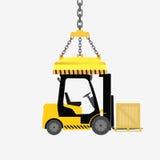 Forklift φορτηγό με το κιβώτιο Στοκ Εικόνες