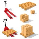 Forklift χεριών με τις παλέτες και τα κιβώτια Στοκ φωτογραφίες με δικαίωμα ελεύθερης χρήσης