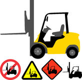 Forklift. Illustration of forklift, forklift signs Royalty Free Stock Photography