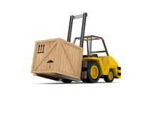 Forklift. And wooden box on the white Royalty Free Stock Image