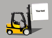 Forklift. With cargo isolated on grey background Stock Photos