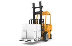 Forklift. Front view of Forklift, orange with pallet Royalty Free Stock Images