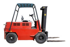 Forklift. Electric forklift isolated over white stock photos