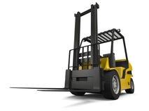 Forklift. 3D illustration of modern yellow forklift truck  on white background Stock Images