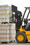 Forklift. The forklift carrying two pallet royalty free stock photo