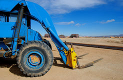 Forklift. Blue forklift Royalty Free Stock Photography