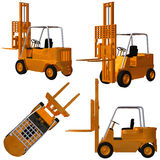 Forklift. 3 D Render of an yellow Forklift Stock Photos