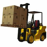 Forklift. 3 D Render of an yellow Forklift Stock Photography