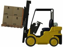 Forklift. 3 D Render of an yellow Forklift Stock Photo