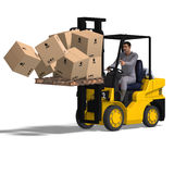 Forklift. Rendering of an accident with a forklift. With Clipping Path and shadow over white Royalty Free Stock Images