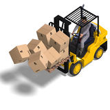 Forklift. Rendering of an accident with a forklift. With Clipping Path and shadow over white Stock Photo