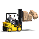 Forklift. Rendering of an accident with a forklift. With Clipping Path and shadow over white Stock Photography