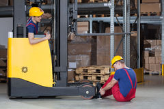 Forklift accident in storehouse Royalty Free Stock Photos