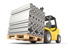 Forklift with aluminium profile Stock Photo