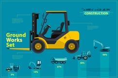 Forklift AMARELO O grupo infographic azul, terra trabalha veículos das máquinas do azul ilustração do vetor