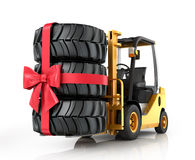 Forklift with automobile wheels bows and ribbons Royalty Free Stock Photos