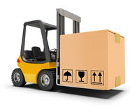Forklift with box. 3d image. White background Stock Image
