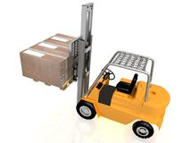 Forklift with boxes Royalty Free Stock Image