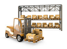 Forklift with boxes Stock Images