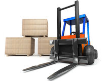 Forklift and boxes. On white background stock illustration