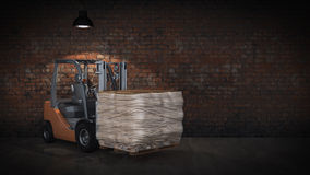 Forklift with building materials. Render 3D Royalty Free Stock Photos