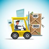 Forklift car lifting box of debt money -. Illustration Royalty Free Stock Image