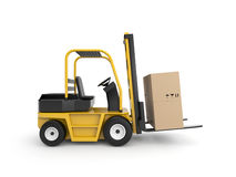 Forklift with cardboard box Royalty Free Stock Photography