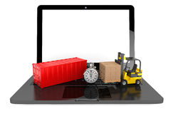 Forklift with Cardboard Boxes and Stopwatch over Laptop Stock Images