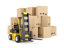 Forklift and cardboard boxes Stock Photo