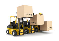 Forklift and cardboard boxes Royalty Free Stock Images