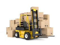 Forklift and cardboard boxes Royalty Free Stock Photos