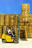 Forklift cargo load Stock Photos