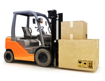 Forklift caring shipping packages Royalty Free Stock Image