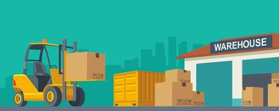Forklift carries a box in storage. Flat banner production process in Warehouse. Vector illustration for business, info graphic, web, presentations, advertising Stock Images