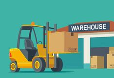 Forklift carries a box in storage. Flat banner production process in Warehouse. Vector illustration for business, info graphic, web, presentations, advertising Royalty Free Stock Photo