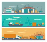 Forklift carries a box in storage. Flat banner production process in Warehouse. Vector illustration for business, info graphic, web, presentations, advertising Stock Image
