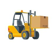 Forklift carries a box. Wide flat  illustration  on white background for logistics business, info graphic, web, bann. Flat banner production process in Warehouse Royalty Free Stock Photography