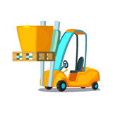 Forklift carries with pasteboard box on a white background. Concept cartoon vector illustration for business, info Stock Photography