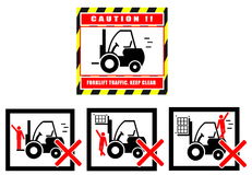 Forklift caution keep clear traffic warning Royalty Free Stock Image