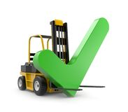 Forklift with check Stock Photo