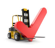 Forklift with check Royalty Free Stock Photo