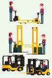 Forklift ciężarówka z ludzkim pracownikiem i pracownika mężczyzna holuje rękę rozwidlamy Obraz Stock