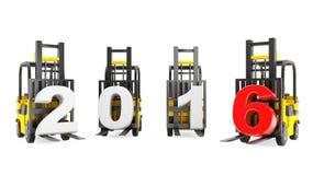 Forklift ciężarówki z 2016 nowy rok znakiem Zdjęcie Royalty Free