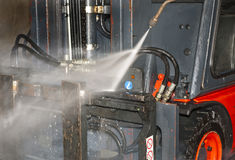 Forklift cleaning Royalty Free Stock Images