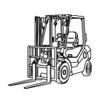 Forklift coloring page. Hand drawn forklift coloring page for kids Royalty Free Stock Photo