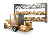 Forklift com caixas Imagens de Stock