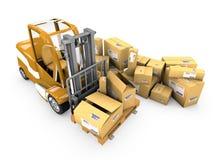 Forklift com carga Imagem de Stock