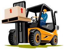 Forklift com excitador Imagens de Stock