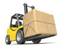 Forklift com pacote do borne ilustração do vetor